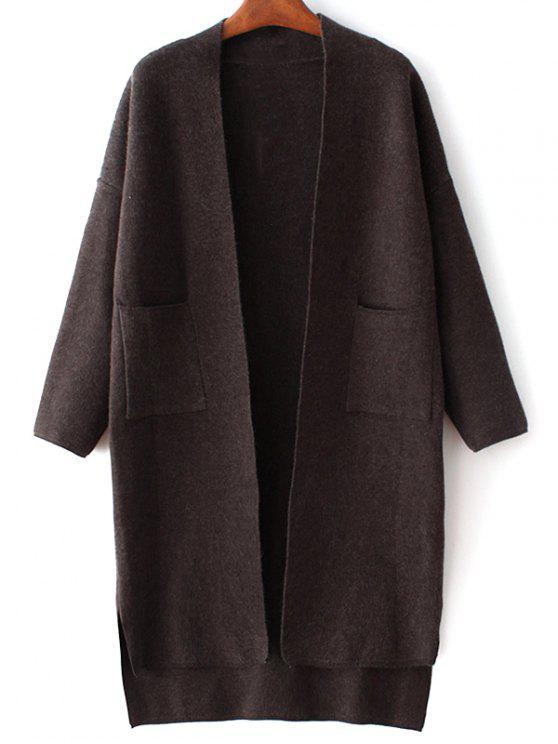 Poches à manches longues couleur unie Cardigan - Noir TAILLE MOYENNE