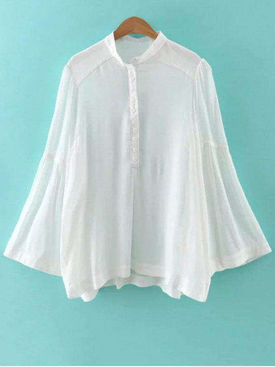 Solide Couleur Support cou Flare manches Blouse - Blanc M