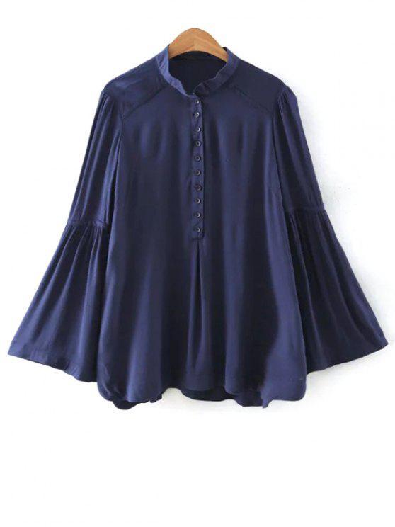 Solide Couleur Support cou Flare manches Blouse - Bleu Violet M