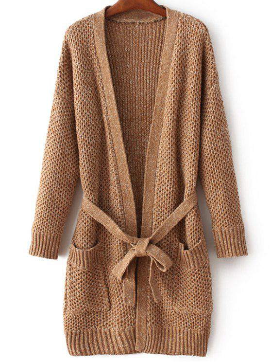 online Thicken Long Sleeve Pockets Belted Cardigan - KHAKI ONE SIZE