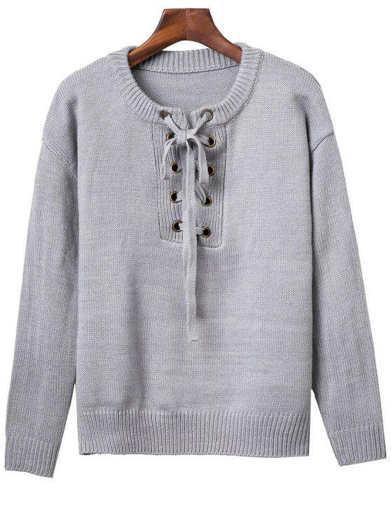latest Lace Up Round Neck Solid Color Sweater - GRAY ONE SIZE