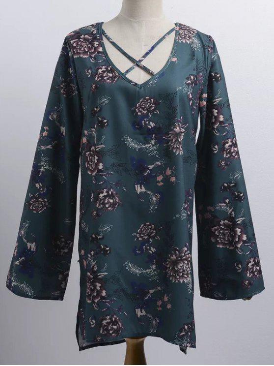 Blumendruck V-Ausschnitt Langarm Trägerkleid - Dunkelgrün Eine Größe