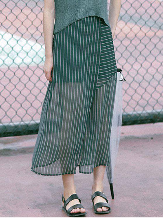 Wrap Front Green Chiffon Skirt