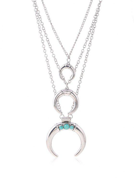 buy Faux Ox Horn Layered Necklace - SILVER