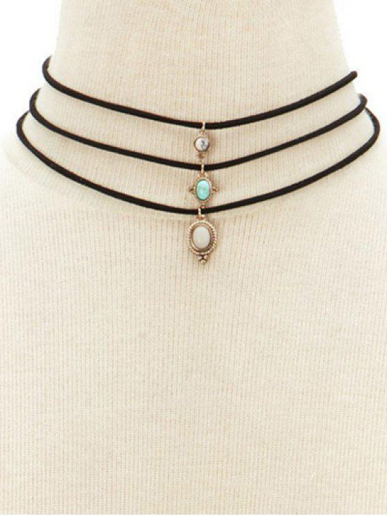 womens Faux Opal Layered Necklace - BLACK