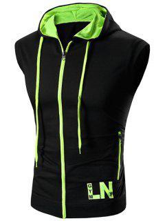 Zip Up Color Block Hooded Vest - Green L