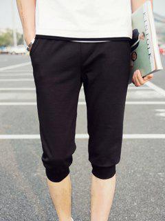 Pantalones Cortos De Cintura Elástica Maciza Patrón De La Letra Del Color Para Los Hombres - Negro M