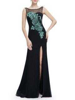 Backless Slit Sheer Maxi Cocktail Prom Evening Dress - Black S