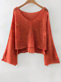 Pure Color V Neck Flare Sleeve Jumper - Rouge Marron