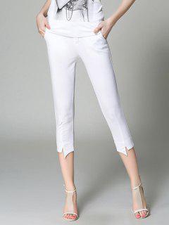 Solid Adelgazar Pantalones Lápiz De Color Capri - Blanco M