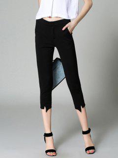 Slimming Solid Color Pencil Capri Pants - Black S