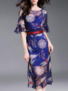 Vestido De Cami Y Impreso Gasa Vestido De Twinset - Azul S