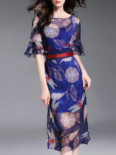 Cami Dress And Printed Chiffon Dress - Blue S