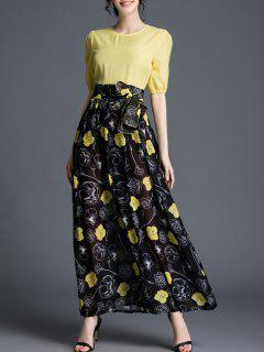 Floral Spliced Round Neck High Waisted Maxi Dress - Yellow And Black S