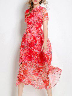 Floral Print Mandarin Collar Short Sleeve Silk Dress - Red S