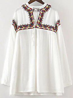 Embroidered V Neck Long Sleeve Dress - White S