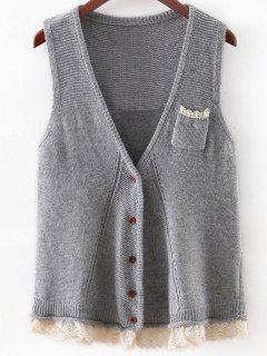 Lace Hem Knitted Waistcoat - Gray