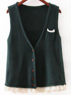 Lace Hem Knitted Waistcoat - Green