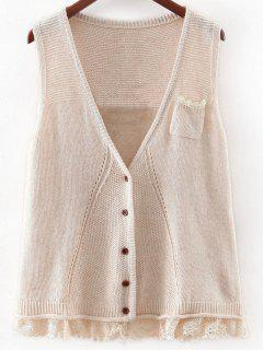 Lace Hem Knitted Waistcoat - Off-white