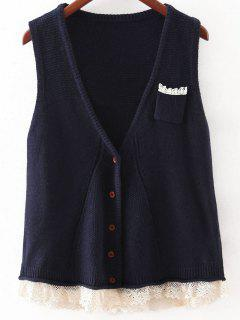 Laçage Hem Single-breasted Waistcoat - Bleu Violet