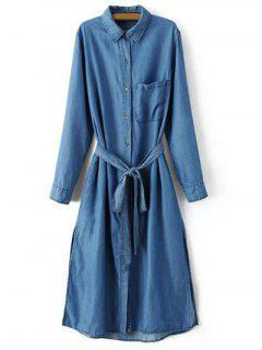 Side Slit Shirt Collar Belted Denim Dress - Light Blue M