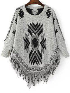 Geometric Tassels Round Neck Long Sleeve Jumper - Black And Grey