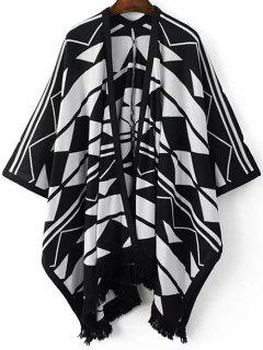Geo Fringed Poncho Cardigan - White And Black