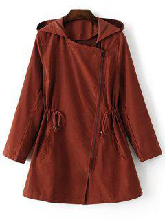 Solid Color Hooded Drawstring Inclined Zipper Coat - Laterite S