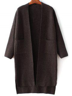 Long Sleeve Pockets Solid Color Cardigan - Black
