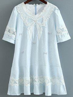 A Line Bow Dress - Light Blue S