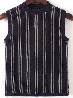 Sleeveless Pullover Sweater - Stripe
