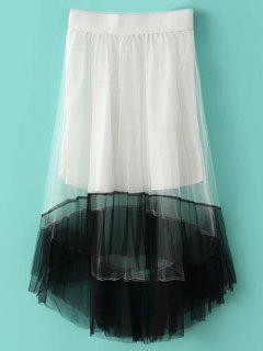 Color Block Tulle Skirt - White M