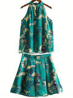 Floral Support Tank Top Neck Et Wide Leg Shorts Suit - Vert S