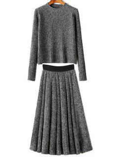 Medio Cuello De Punto Jersey Y Falda De Twinset - Gris Oscuro