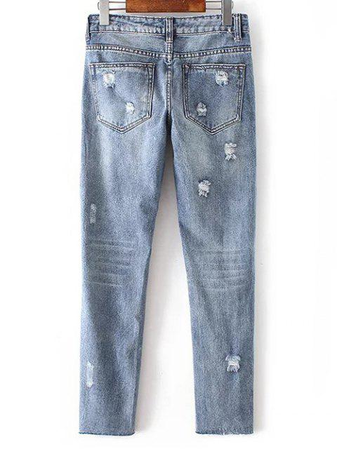outfits Low Waist Leather Embroidery Ripped Jeans - BLUE GRAY L Mobile