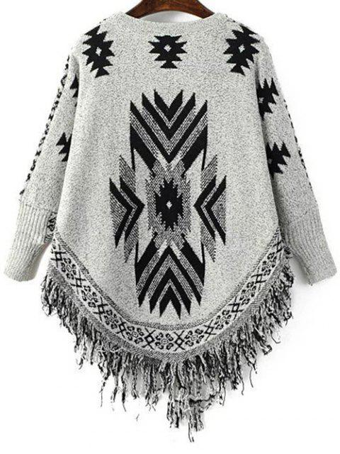 ladies Geometric Tassels Round Neck Long Sleeve Jumper - BLACK AND GREY ONE SIZE Mobile