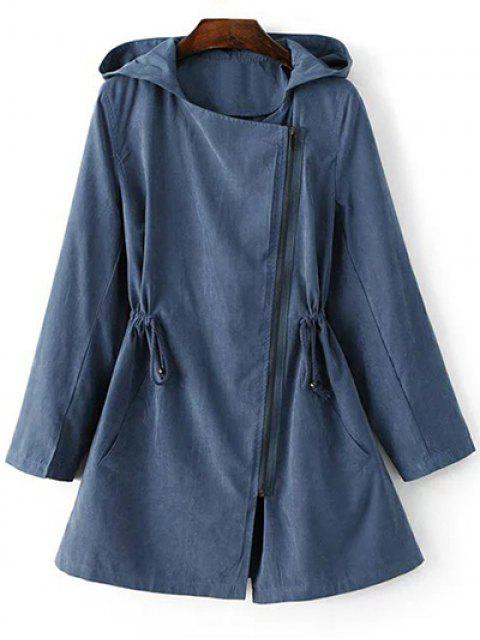online Solid Color Hooded Drawstring Inclined Zipper Coat - BLUE S Mobile