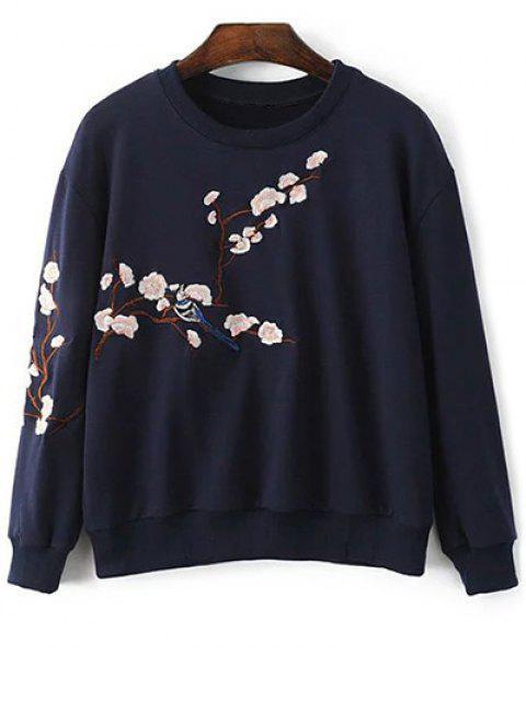 Floral bordado cuello redondo de la camiseta - Azul Purpúreo S Mobile