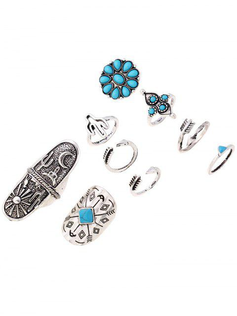 latest Tribe Style Embossed Rings - SILVER  Mobile