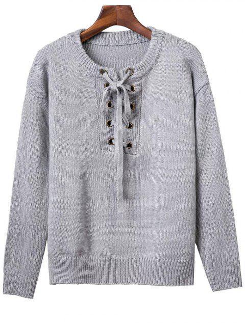 Ata para arriba alrededor del cuello del suéter de color sólido - Gris Única Talla Mobile