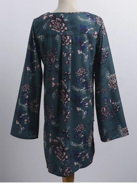 latest Floral Print V Neck Long Sleeve Strappy Dress - BLACKISH GREEN ONE SIZE Mobile