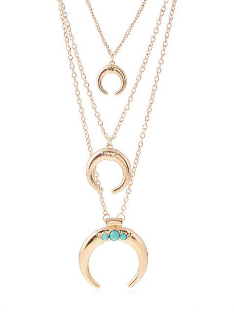 affordable Faux Ox Horn Layered Necklace -   Mobile