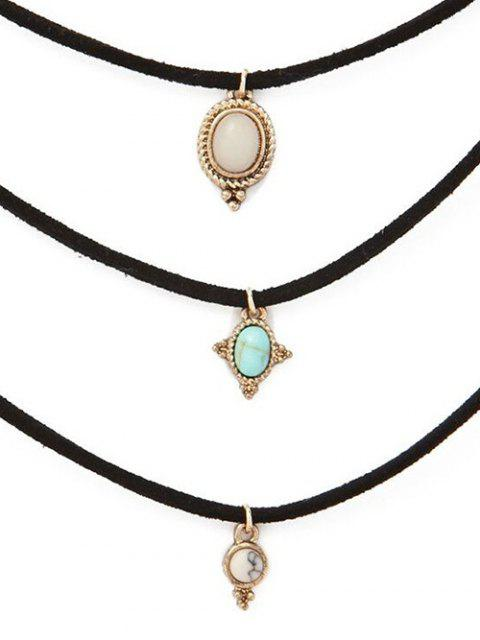 womens Faux Opal Layered Necklace -   Mobile