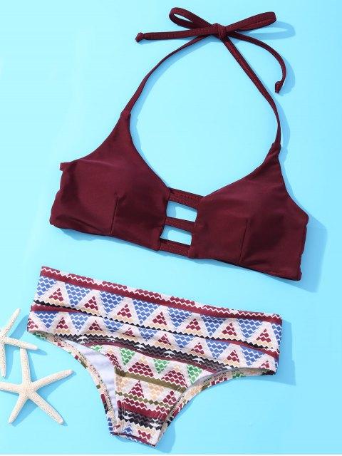 best Halter Geometric Bikini Set - WINE RED L Mobile