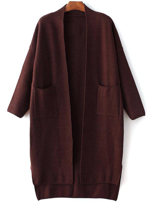 Long Sleeve Pockets Solid Color Cardigan 188592202
