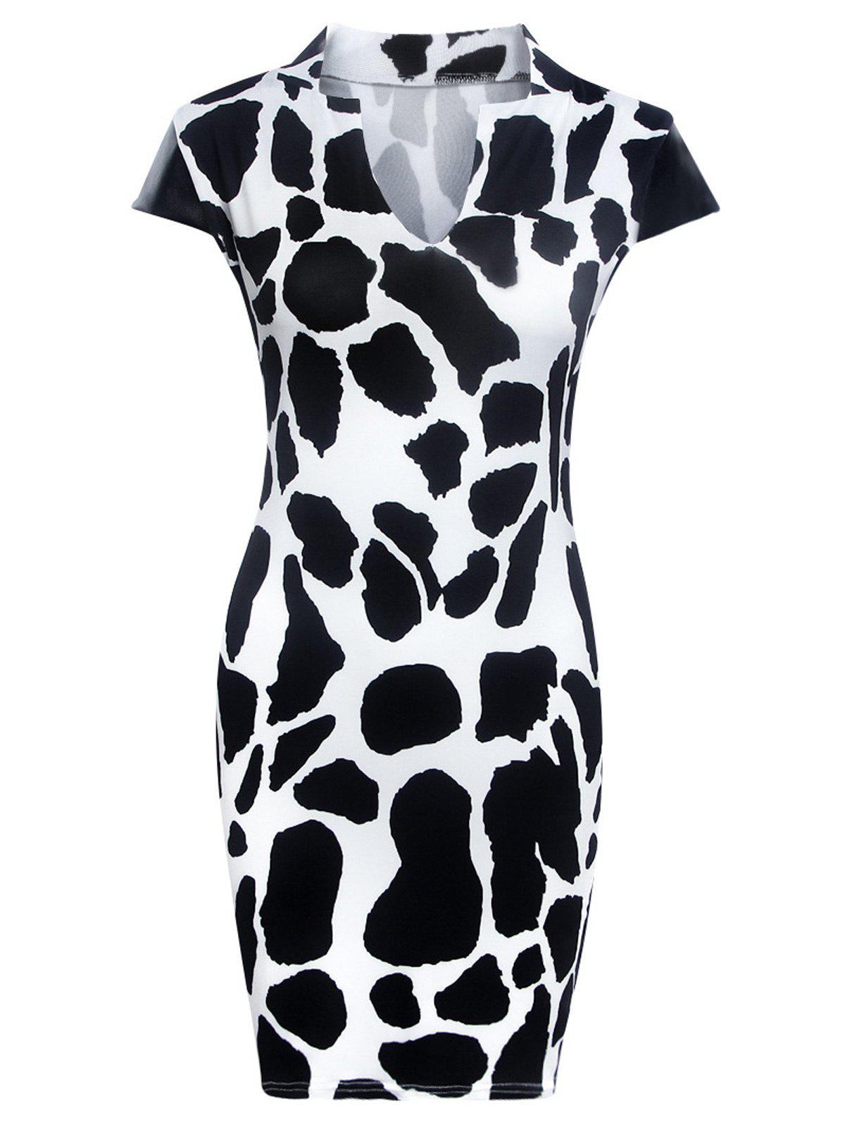Fashionable Printed Faux Leather Spliced Skinny Women s Dress 188618903