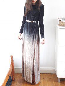 Side Slit Long Sleeve Gradient Color Dress - Black S