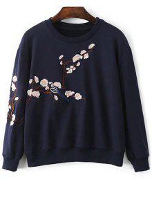 Floral Embroidered Round Neck Sweatshirt - Purplish Blue S