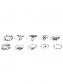 Rhinestone Elephant Flower Rings - Silver