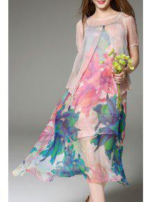 الأزهار طباعة ميدي زلة اللباس والرأس - زهري 3xl